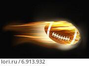 Мяч для американского футбола в огне. Стоковая иллюстрация, иллюстратор Yevgen Kachurin / Фотобанк Лори