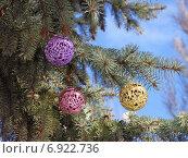 Новогодние цветные шары на ветке ели. Стоковое фото, фотограф Павел Бурочкин / Фотобанк Лори