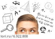 Купить «close up of woman looking to mathematical doodles», фото № 6922808, снято 1 июня 2013 г. (c) Syda Productions / Фотобанк Лори