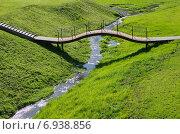 Купить «Ландшафтный дизайн. Мостик через ручей», эксклюзивное фото № 6938856, снято 16 сентября 2014 г. (c) Елена Коромыслова / Фотобанк Лори