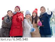 Купить «group of smiling men and women in winter forest», фото № 6945940, снято 22 декабря 2014 г. (c) Syda Productions / Фотобанк Лори