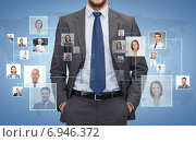 Купить «close up of businessman over icons with contacts», фото № 6946372, снято 15 марта 2014 г. (c) Syda Productions / Фотобанк Лори