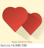 Купить «Валентинка с двумя красными сердечками», иллюстрация № 6948196 (c) Виктория Очеретько / Фотобанк Лори
