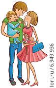 Купить «Молодая семья с младенцем на руках. Цветной рисунок. Иллюстрация.», иллюстрация № 6949936 (c) Куликова Татьяна / Фотобанк Лори