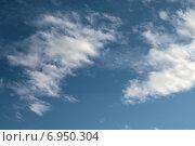 Купить «Небесный пейзаж с кучевыми облаками рваной формы на синем небе», фото № 6950304, снято 13 января 2015 г. (c) Ирина Водяник / Фотобанк Лори