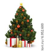 Купить «Украшенная новогодняя елка с подарками», иллюстрация № 6952600 (c) Anatoly Maslennikov / Фотобанк Лори