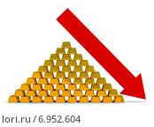 Купить «Слитки золота и красная стрелка, идущая вниз», иллюстрация № 6952604 (c) Anatoly Maslennikov / Фотобанк Лори