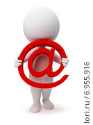 Купить «3d-человек держит в руках значок email», иллюстрация № 6955916 (c) Anatoly Maslennikov / Фотобанк Лори