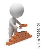 Купить «3d-человек - строитель», иллюстрация № 6956100 (c) Anatoly Maslennikov / Фотобанк Лори