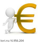 Купить «3d-человек с символом евро», иллюстрация № 6956204 (c) Anatoly Maslennikov / Фотобанк Лори