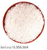 Купить «Рис в миске, изолированно на белом фоне», фото № 6956664, снято 24 ноября 2014 г. (c) Литвяк Игорь / Фотобанк Лори