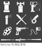 Набор иконок на тему самообороны. Стоковая иллюстрация, иллюстратор Oleksandr Yershov / Фотобанк Лори