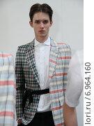 Купить «NEW YORK, NY - SEPTEMBER 03: A model poses at the Antonio Azzuolo presentation during New York Men's Day at Industria Studios on September 3, 2014 in New York City», фото № 6964160, снято 3 сентября 2014 г. (c) Anton Oparin / Фотобанк Лори