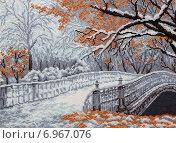 Купить «Зимний пейзаж с мостом через канал», фото № 6967076, снято 21 декабря 2014 г. (c) Виталий Матонин / Фотобанк Лори