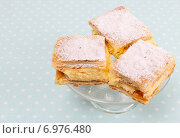 Купить «A Polish cream pie made of two layers of puff pastry, filled with whipped cream.», фото № 6976480, снято 15 августа 2018 г. (c) BE&W Photo / Фотобанк Лори
