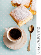 Купить «A Polish cream pie made of two layers of puff pastry, filled with whipped cream and cup of coffee.», фото № 6978812, снято 15 января 2019 г. (c) BE&W Photo / Фотобанк Лори