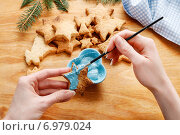 Купить «Decorating gingerbread cookies with blue and white icing. Steps of making biscuits», фото № 6979024, снято 22 января 2020 г. (c) BE&W Photo / Фотобанк Лори