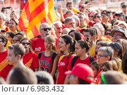 Купить «People at rally demanding independence for Catalonia», фото № 6983432, снято 11 сентября 2014 г. (c) Яков Филимонов / Фотобанк Лори