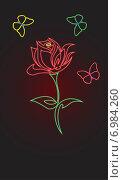 Светящаяся роза и три разноцветные бабочки на темном фоне. Стоковая иллюстрация, иллюстратор Марина Новожилова / Фотобанк Лори