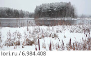 Купить «Лесное озеро с островом посередине и заснеженными берегами в зимнее время, Карелия», видеоролик № 6984408, снято 10 января 2015 г. (c) Кекяляйнен Андрей / Фотобанк Лори