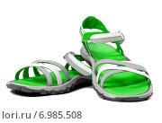 Купить «Пара летних сандалий на белом фоне», фото № 6985508, снято 12 июля 2014 г. (c) Анна Полторацкая / Фотобанк Лори