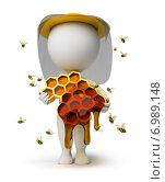 Купить «Белая фигурка человека с медовыми сотами в руках», иллюстрация № 6989148 (c) Anatoly Maslennikov / Фотобанк Лори