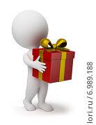 Купить «3d человек с подарочной коробкой», иллюстрация № 6989188 (c) Anatoly Maslennikov / Фотобанк Лори