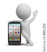 Купить «3d человек со смартфоном», иллюстрация № 6989256 (c) Anatoly Maslennikov / Фотобанк Лори