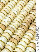 Купить «Фон из вафельных стаканчиков для мороженого», фото № 6994824, снято 25 декабря 2014 г. (c) Евгений Ткачёв / Фотобанк Лори