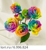 Букет разноцветных роз. Стоковое фото, фотограф Анастасия Гамова / Фотобанк Лори