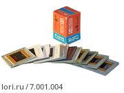 Купить «Коробка. Цветная пленка для слайдов. Слайды», фото № 7001004, снято 11 февраля 2015 г. (c) Юрий Кирсанов / Фотобанк Лори