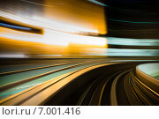 Эффект движения в городе, вид из монорельса. Стоковое фото, фотограф Алексей Копытько / Фотобанк Лори