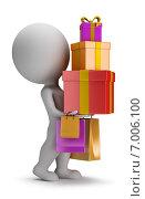 Купить «3d-человечек с горой подарков», иллюстрация № 7006100 (c) Anatoly Maslennikov / Фотобанк Лори