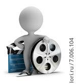 Купить «3d-человечек с катушкой кинопленки и кинематографической хлопушкой», иллюстрация № 7006104 (c) Anatoly Maslennikov / Фотобанк Лори