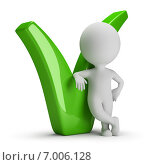 Купить «3d-человечек опирается на зеленую галочку», иллюстрация № 7006128 (c) Anatoly Maslennikov / Фотобанк Лори