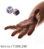 Купить «Игральные кости и рука», фото № 7008248, снято 24 ноября 2014 г. (c) Барковский Семён / Фотобанк Лори
