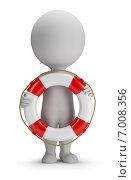 Купить «3d-человечек со спасательным кругом на белом фоне», иллюстрация № 7008356 (c) Anatoly Maslennikov / Фотобанк Лори