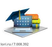 Купить «Открытый ноутбук, стопка книг и шапка выпускника», иллюстрация № 7008392 (c) Anatoly Maslennikov / Фотобанк Лори