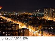 Ночной вид на Пермь с высоты (2015 год). Редакционное фото, фотограф Марат Тайгильдин / Фотобанк Лори