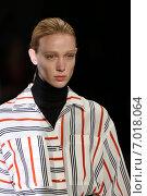 Купить «NEW YORK, NY - FEBRUARY 12: A model walks the runway at the Tome fashion show during Mercedes-Benz Fashion Week Fall 2015 at Lincoln Center on February 12, 2015 in New York City.», фото № 7018064, снято 12 февраля 2015 г. (c) Anton Oparin / Фотобанк Лори