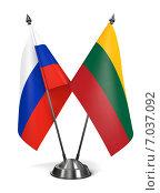 Купить «Маленькие флаги России и Литвы на подставке», иллюстрация № 7037092 (c) Илья Урядников / Фотобанк Лори