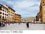 Купить «Пьяцца де Синьория во Флоренции», фото № 7040332, снято 8 мая 2014 г. (c) Наталья Волкова / Фотобанк Лори