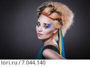 Красивая девушка украинка с патриотичным макияжем (2014 год). Стоковое фото, фотограф Людмила Васильевна / Фотобанк Лори