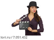 Woman with movie clapboard isolated on the white. Стоковое фото, фотограф Elnur / Фотобанк Лори