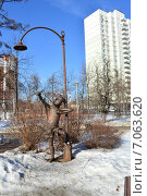 Купить «Скульптура из металлолома в сквере Знаки зодиака на Енисейской улице в Москве», эксклюзивное фото № 7063620, снято 25 февраля 2015 г. (c) lana1501 / Фотобанк Лори