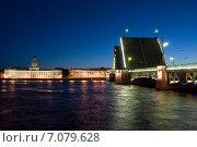 Купить «Кунсткамера. Разведенный дворцовый мост. Санкт-Петербург», эксклюзивное фото № 7079628, снято 5 июня 2011 г. (c) Александр Щепин / Фотобанк Лори