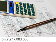 Купить «Документы для ипотеки. Калькулятор и ручка лежат на графике по выплате платежей рассчитанного кредитного договора», эксклюзивное фото № 7083056, снято 2 марта 2015 г. (c) Игорь Низов / Фотобанк Лори