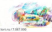 Весенний пейзаж. Рисунок карандашом. Стоковая иллюстрация, иллюстратор Diana Borisova / Фотобанк Лори