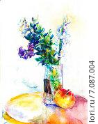 Натюрморт с цветами и яблоком. Акварель. Стоковое фото, фотограф Diana Borisova / Фотобанк Лори