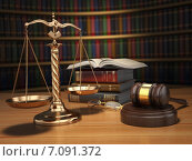 Купить «Justice concept. Gavel, golden scales and books in the library with dof effect.», фото № 7091372, снято 9 июня 2018 г. (c) Maksym Yemelyanov / Фотобанк Лори